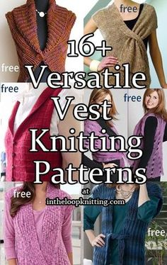 Knitting Patterns for Versatile Vests. Most patterns are free