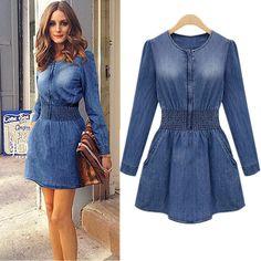Vintage Pocket Design Denim Slimming Women's Dress