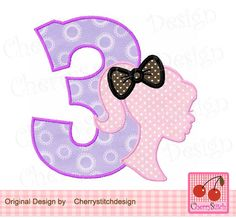 Birthday number 3 with Barbie,Barbie silhouette with bow,Barbie Number 3 Applique -4x4 5x5 6x6 inch-Machine Embroidery Applique Design by CherryStitchDesign on Etsy