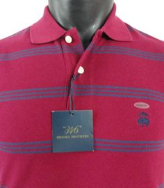 NWT Brooks Brothers Mens S Golden Fleece Striped Polo Shirt Red Blue Slim Fit  #BrooksBrothers #PoloRugby