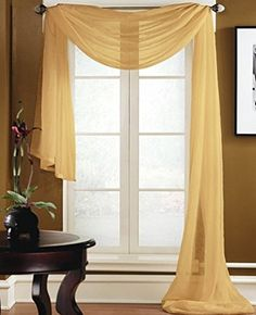 "Gorgeous Home *DIFFERENT SOLID COLORS* AND ALSO *ANIMAL PRINT* 1PC SCARF VALANCE SOFT SHEER VOILE WINDOW TOPPER SWAG PANEL CURTAIN 216"" LONG (GOLD) Gorgeous Home LINEN http://www.amazon.com/dp/B0184NQ1MK/ref=cm_sw_r_pi_dp_jRz-wb1ANGF07"