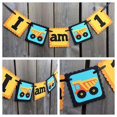 I am 1 construction themed high chair banner, truck banner, construction cake…