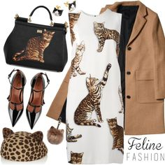 CHIC FELINE by tiziana-melera on Polyvore featuring Dolce&Gabbana, RED Valentino, Eugenia Kim, contestentry, feline and catstyle