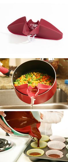 Clip this neat silicone kitchen tool onto a pot, pan or serving bowl to drain the liquid while still holding the contents! It's perfect for draining the fat out of your ground beef or water out of your cooked veggies.