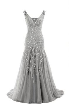 Cocomelody A Line V Neck Long Beaded Evening Dress