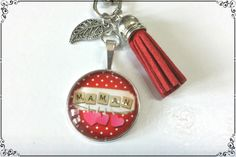Bijoux de sac cabochon *maman* pompon en suédine rouge : Autres bijoux par miss-j-adore
