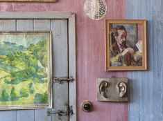 Duncan Grant's studio at Charleston with Grant's portrait of the artist Edward le Bas. Below the portrait is a cast of the ears of Michelangelo's David, which Grant obtained from an art school in the nearby town of Lewes
