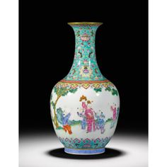 A FINE FAMILLE-ROSE BOTTLE VASE<br>SEAL MARK AND PERIOD OF DAOGUANG | lot | Sotheby's