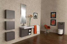 ADA-Compliant Libera Vanity - contemporary - bathroom vanities and sink consoles - chicago - LACAVA Floating Bathroom Vanities, Black Vanity Bathroom, Vintage Bathroom Vanities, Ada Bathroom, Bathroom Sink Cabinets, Handicap Bathroom, Office Bathroom, Corner Bathroom Vanity, Bathroom Vanity Makeover