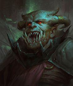 father by Veronika Kozlova on ArtStation. Fantasy Monster, Monster Art, Character Portraits, Character Art, Character Reference, Character Design, Dark Father, Horror Artwork, Warhammer 40k Art