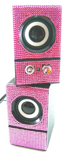 Pink Sparkly Desk Accessories   Pink Crystal Rhinestone Desktop Computer Speakers   eBay