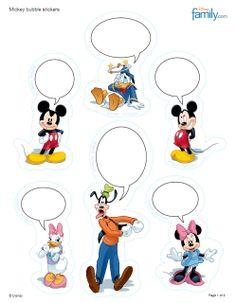 Mickey & Minnie, Goofy & Donald free printable sticker sheet - http://a.family.go.com/images/cms/disney/PDFs/mickey-wordbubles-sticker-printables-0610.pdf