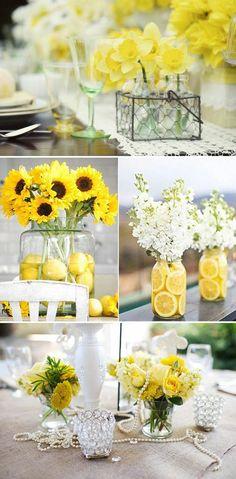 tischdekoration hochzeit narzissen sonnenblumen zitronen