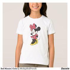 Red Minnie | Cute T-Shirt // disney shirts disney kids gifts minnie kids shirt girls clothing christmas gifts minnie mouse cute zazzle