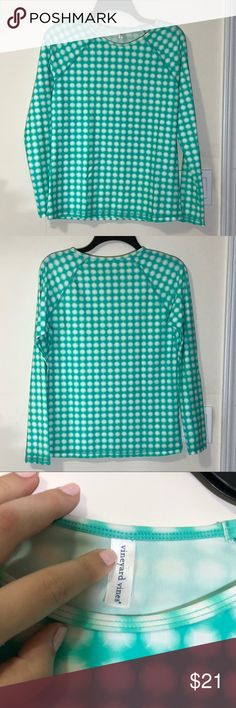 Vineyard vines mint green gingham print rash guard Fun and bright gingham print mint green rash guard swim wear. Long sleeve. Does have tiny spot of piling by the neckline however the rest of the top is great. No trades. Vineyard Vines Swim
