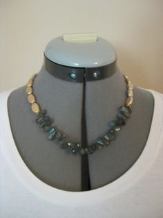 """F0951 18"""" Gold freshwater coin pearl with laboradorite briolettes, gold filled toggle clasp. $50."""