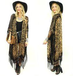 DESERT GYPSY Burnout Fringe Kimono DUSTER by ElectricWest on Etsy, $158.00