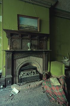 arsenic laced paint and a servant's bell beside the fireplace