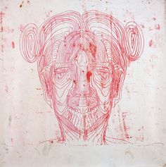 Matthew Monahan    Untitled (Red Face)    1997  oil on paper  99 x 100