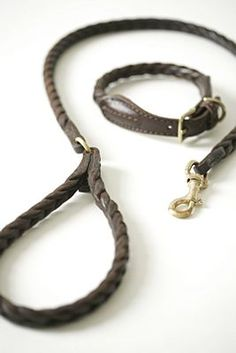 Leather plaited dog collar and lead, by Mungo and Maud.  Would like this very much, its is however redic money..hmmm