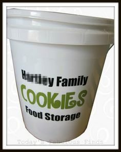 Cookie Kit in a Bucket--Buy 5 gallon bucket w/lid, add a vinyl label with last name to it just to add a little something special.   Then fill the bucket with the ingredients needed to make chocolate chip cookies.Two 5 pound bags of flour and one 5 pound bag of sugar will fit at the bottom, then fill in with all of the other ingredients. Tape a recipe to the inside of the lid.