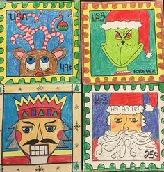Four postage stamp holiday theme. Each year at Christmas I have the and grades design a Christmas postage stamp. It is also a good lesson in the history of U. Postage and postage stamp art. Christmas Art Projects, Christmas Arts And Crafts, Winter Art Projects, School Art Projects, 4th Grade Art, Third Grade, Postage Stamp Art, Art Lessons Elementary, Art Lesson Plans