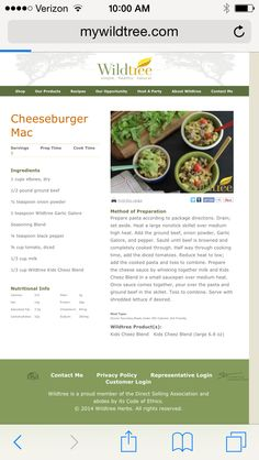 Wildtree cheeseburger Mac Super simple, healthy, natural, organic, ground beef, Wildtree kids cheez blend Visit my website to order Wildtree products www.lanettevinci.com