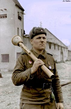 Soviet Guard Sergeant Ilya Amelin-15th Guards Rifle Division with German Panzerfaust - 1st Ukrainian Front