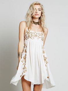 Beautiful Embroidered Babydoll Slip dress at Free People Clothing Boutique Dress Up, Babydoll Dress, Dress Skirt, Dress Outfits, Lace Dress, Bohemian Mode, Bohemian Style, Look Festival, Bohemian Schick
