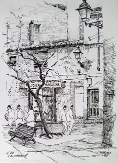Best Home Decorating Magazine Code: 9185467439 Landscape Pencil Drawings, Landscape Sketch, Ink Pen Drawings, Architecture Concept Drawings, Watercolor Architecture, City Sketch, Building Sketch, Art Drawings Beautiful, Urban Sketchers