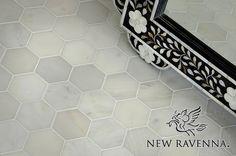 7cm Hex Calacatta Radiance Stone Mosaic | New Ravenna Mosaics  Master upstairs bathroom floor