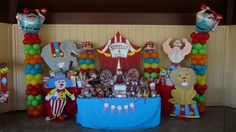 Carnival Balloon Decoration and Candy Table in Los Angeles