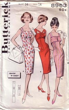 9f03451ff33 Butterick 8963 Size bust waist 25 Misses Quick N Easy Sheath Top Interest   Three cool necklines vary a fitted sheath dress. A) Camisole top sheath.