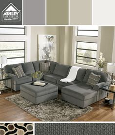 Gray + Earth Tones - I'm getting this for my family room! (Loric Smoke Sectional - Ashley Furniture HomeStore)
