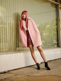 Fernanda Ly, Australian model wears a pink coat to match her pastel hair for MARCS Fall 2016 CAMPAIGN