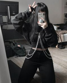 Find images and videos about girl, fashion and black on We Heart It - the app to get lost in what you love. Skater Girl Outfits, Bad Girl Outfits, Emo Outfits, Teen Fashion Outfits, Korean Outfits, Grunge Outfits, Cute Casual Outfits, Pretty Outfits, Mode Emo