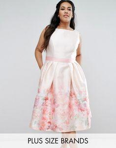 Chi Chi Plus Chi Chi London Plus Rose Border Midi Dress With Contrast Waist