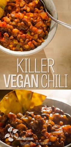 Seriously, this is killer vegan chili! Get ready to wow your family and impress … Seriously, this is killer vegan chili! Get ready to wow your family and impress your friends! Jump over to fullofbeans.us for the details! Veggie Recipes, Whole Food Recipes, Vegetarian Recipes, Cooking Recipes, Healthy Recipes, Vegetarian Chilli Crockpot, Cooking Ideas, Healthy Cooking, Keto Recipes