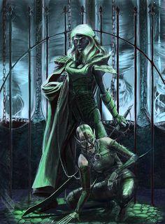 Drow Slaver and Hound by fuuryoku.deviantart.com on @deviantART