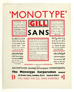 The Gill sans type family. This typeface has been widely used, especially in England. Although a sans-serif typeface, the basis for Gill Sans can be traced to Trajan's column and Caroline minuscules. Vintage Typography, Typography Letters, Typography Design, Vintage Logos, Creative Typography, Retro Logos, Typography Logo, Vintage Ads, Adobe Indesign
