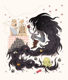 Adventure Time fan art dump~ The top piece will be in the upcoming Adventure Time: The Art of Ooo book, coming out this late-summer/fall! Adventure Time Cartoon, Adventure Time Marceline, Adventure Time Anime, Cartoon Network, Character Art, Character Design, Deadpool, Arte Obscura, Bubbline