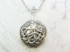 Silver Locket Necklace- The ORIGINAL Silver  OCTOPUS LOCKET  - by BirdzNbeez - Christmas Wedding Birthday Bridesmaids Gift. $32.00, via Etsy.