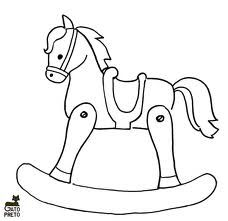 Clip Art Illustration of a Rocking Horse Coloring Page | Templates ...