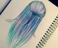 Hair Art, Drawing by debbyarts Arte do cabelo, Desenho por debbyarts Amazing Drawings, Cool Art Drawings, Beautiful Drawings, Art Drawings Sketches, Easy Drawings, Amazing Art, Drawing Ideas, Awesome, Mermaid Sketch