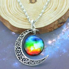 Gorgeous Rainbow Silver Moon Necklace from My Exclusive Gems.