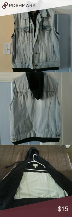 Forever 21 Vest Light colored jean vest with black hoodie attached inside. Only worn a couple times. Forever 21 Jackets & Coats Vests