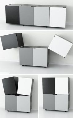 Space-saving, multi-functional designs do not need to be overly complicated as these two storage-and-seating pieces from Elemento Diseno show. Diy Kids Furniture, Smart Furniture, Space Saving Furniture, Cabinet Furniture, Design Furniture, Unique Furniture, Furniture Plans, Furniture Online, Homemade Furniture