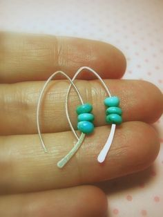 Sterling Turquoise Earring, silver earrings by maryandjane, via Etsy.