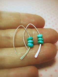 Sterling Turquoise Earring, silver earrings by maryandjane, via Etsy.