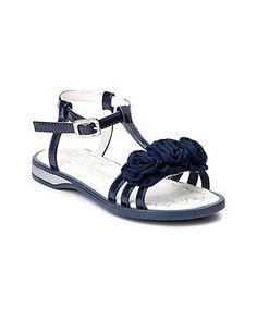 Girls dress sandal - Primigi European style. Blue patent leather with 3 fabric rosebud details. | parakeetfeet.com
